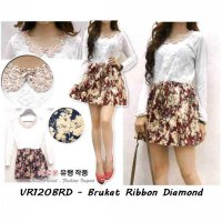 Dress Murah | Grosir Dress Wanita | VR120BRD - Brukat ribbon diamond