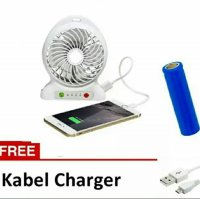 Power Bank Portable With Kipas Angin Mini Fan free Baterai free Kabel Charger