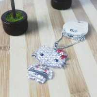 necklace hello kitty kalung cewek import silver red