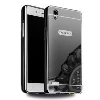 Case Oppo F1 Plus Bumper Metal + Back Case Sliding - Black