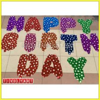 Balon Foil Huruf Rainbow 'Happy Birthday'