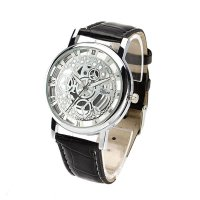 Women Leather Hollow Dial Analog Rome Digital Quartz Wristwatch Watch