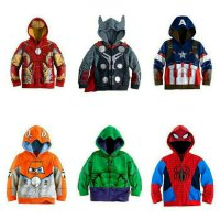 Jaket Anak Superhero Iron Man Captain America Spiderman