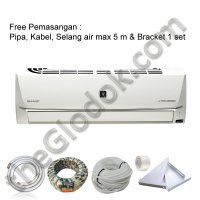 SHARP AC Split Inverter 1,5 pk AH-XP13SHY + Pasang (Pipa,Kabel,Selang Air Max 5m,Bracket)