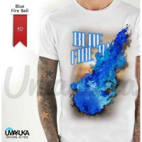 Kaos 4D Blue Fire Ball Dewasa uk 4XL, 5XL dan Lengan Panjang