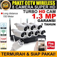 CCTV IP WIRELESS PAKET TERMURAH 1.3 MP KOMPLIT 8 CAM SI