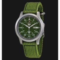 Jam Tangan Seiko 5 SNK809k2 Sport Automatic Canvas Green Silver Bezel Original Garansi Resmi For Man