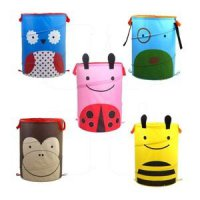 Animal barrel skip basket keranjang storage folding baju mainan boneka