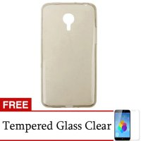 Ultra Thin Soft Case Free Tempered Glass for Meizu M2 Note - Grey Transparan
