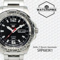 Seiko 5 Sports Mens SRP683K1 | Jam Tangan Pria SRP683 Silver Stainless Automatic.