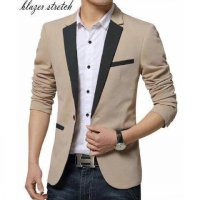 Blazer Combo Cream Katun Stretch
