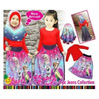 Little pineapple set jilbab rok jeans frozen merah