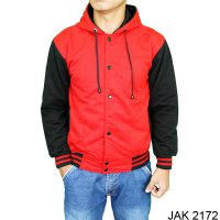 Men's Outerwear Jackets Baseball Fleece Merah – JAK 2172