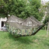 [globalbuy] Outdoor Hammock Tent Camo Parachute Fabric Mosquito Net Folding Hanging Bed Sw/3412169