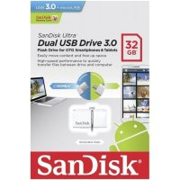 OTG USB Flashdisk Sandisk 32 GB Android & Windows/MAC USB 3.0 - White
