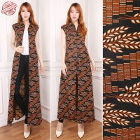 SB Collection Gamis Maxi Dress Rizkia Longdress Terusan Blazer Batik Wanita