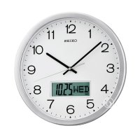 Seiko QXL007S Analog Digital Quiet Sweep Wall Clock Jam Dinding - Silver [35 cm]