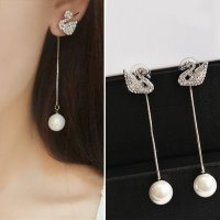 RFSJNI003 Sterling Silver S925 Swan Long Chain Pearl Earrings Silver