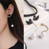 RFSJNI004 Sterling Rose Gold S925 Swan Long Chain Pearl Earrings Rose Gold-black