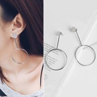 RFSJNI018 Minimalist Circle Long Earrings Silver