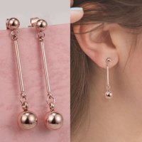 RFSJNI019 Titanium Steel Long Section Rose Gold Earrings Rose Gold