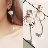 RFSJN1019 Minimalist Round Long Chain Ear Clip No Needle Gold+White