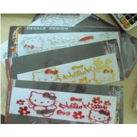 Sticker Mobil Hello Kitty (Warna : Gold, silver and red)