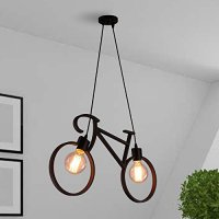 Alat Penerangan Lampu Dekorasi Hias Gantung Modern Bicycle Metal Iron Pendant Lights Shade Edison Led Bike Ceiling Lamps Fixtures