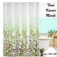Tirai Kamar Mandi/ Shower Curtain Motif Daun Warna Warni Anti Air