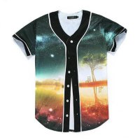 [globalbuy] Raisevern New Men Women Baseball Shirt 3D Print Tree Isle Fashion Hip Hop Shir/4037591
