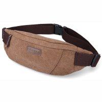 Muzee Tas Pinggang Selempang Canvas Travel - ME-5110 - Coffee