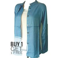 KEMEJA WANITA DENIM CHAMBREY warna light blue