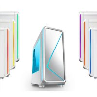 (Termurah) Casing PC CPU CUBE Gaming RGB Cabrion White - RGB Light, Fan / USB 3.0