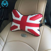 [globalbuy] NEW 2PCS Car Neck Pillow Headrest Union Flag Pattern Red with White PU Leather/3093596