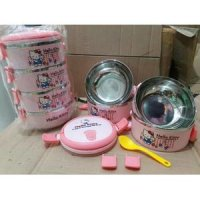 Rantang Stainless Karakter Hello Kitty 4 Susun ( Lunch Box )