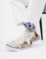 ASOS DESIGN high top plimsolls with western print