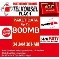 Paket Internet TELKOMSEL Flash kuota utama Up To 800MB (Simpati,As,Loop) 24Jam30Hari