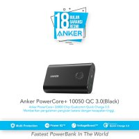 Powerbank ANKER PowerCore+ 10050mAh Quick Charge 3.0 -A1311H11-(RESMI)
