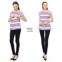 Just Mom Baju Menyusui Vidie 110 rainbow stripe