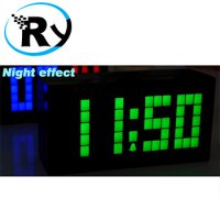 (Termurah) Digital Jumbo LED Wall Clock with Thermometer and Calendar - Red