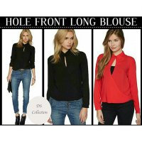HOLE FRONT LONG BLOUSE 2 WARNA TWISCONE FIT TO L NO INNER