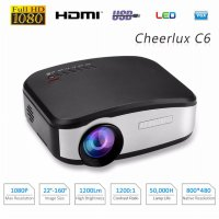 NEW MODEL (with Button) CHEERLUX C6 HD Mini LED Projector 800x480 Pixels 1200 Lumens with TV Tunner - FREE HDMI CABLE