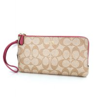 Authentic Coach Double Zip Wallet in Signature - Pink