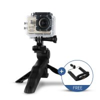 Mini Folding Tripod Lipat for GoPro DSLR Xiaomi Yi Brica Sjcam Smartphone with Holder U - Hitam
