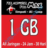 Telkomsel Data Full MAX 1GB (Simpati, Kartu AS, Loop) 24jam 30hari