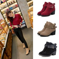 Women Winter Snow Ladies Low Heel Ankle Belt Buckle Martin Boots Shoes
