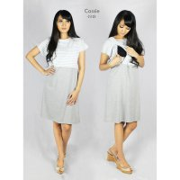 Just Mom Baju Menyusui Dress Cassie light grey stripe CS103
