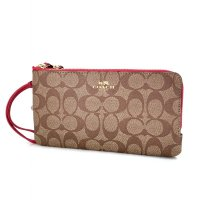 Authentic Coach Double Zip Wallet in Signature - Red