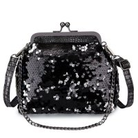KGS Tas Pesta/Casual Wanita Sequins Croco Frame Shoulder Bag - Hitam