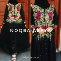 Abaya Gamis Jubah Dress Arab Bordir Hilya Mawar Syari P